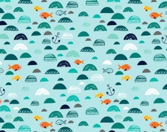 Fish in the Sea - Mint / Petrol , Cotton Lycra Jersey Knit Fabric