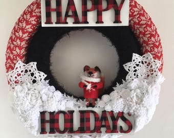 Christmas wreath , yarn wreath, felt flower wreath , felt wreath, double wreath, holiday wreath