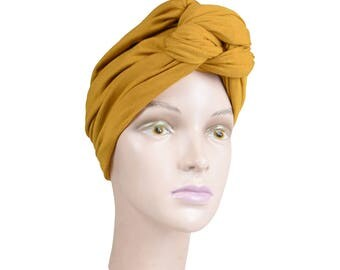 Women's Turban Mustard Yellow Headscarf Great Womens Headscarf Soft Hat Cute Knot Turban Headcovering Hair Loss Head Scarf