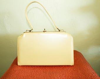 1950s Purse- Butter Yellow Leather- Handbag