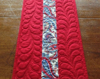 Americana Quilted Table Runner, Patriotic Table Runner, Independence Day, 4th of July, Red and Blue Table Runner, Reversible Runner