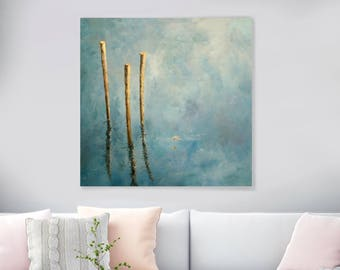 """Large Original Oil Painting On Canvas, 'The Daydream', Huge Abstract Painting, Landscape Lake Painting, Wall Art, Salon Painting 39"""" X 39"""""""