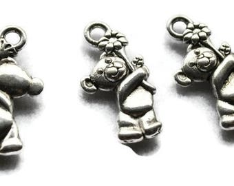 5 charms silver plated bear pendant