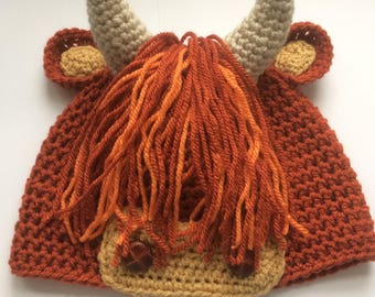 Handmade crochet Scottish Highland Cow or Coo hat, made on the Isle of Skye
