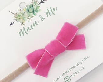 Brigtht Pink Velvet Hand Tied Bow Hair Clip or Headband / Macie and Me
