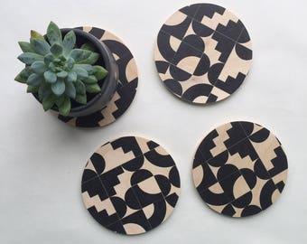 wood coasters, geometric coasters, modern coasters, geometric shapes, coasters, hostess gift, gift for her, mid century modern, 80s coasters