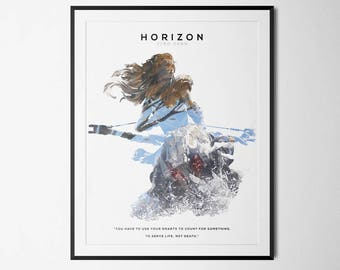 Horizon Zero Dawn Inspired Double Exposure Poster Print - Video Game Art