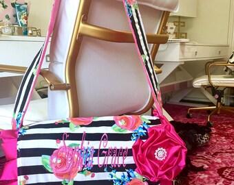 Watercolor Floral Stripe Diaper Bag Hot Pink Handmade Bags To Match