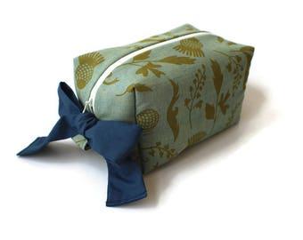 Ribbon Box Pouch / Box Makeup Bag / Makeup Pouch / Accessory Pouch / Cosmetic Pouch / Cosmetic Bag / Zippered Box Pouch / Box Pouch / Floral