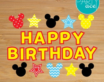 Mickey Mouse Birthday Banner Dots and Stripes Birthday  Printable Party Decoration
