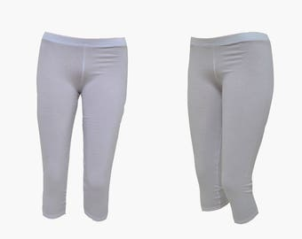 30% Off SALE Cotton White Women's Leggings,7/8 Tights,Workout Yoga Pants,Stretch Yoga Clothing in size:S,M,L and Maxi Plus size-XL,2X,3X