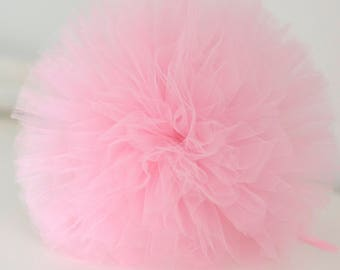 Baby pink tulle pom poms / wedding party decorations / girls birthday party  pompoms / nursery decor / weddings / tulle pompom / kids room