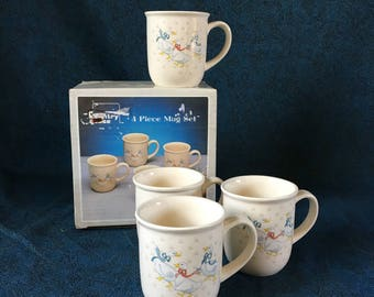 Vintage Country Geese Coffee Mugs, Set of 4