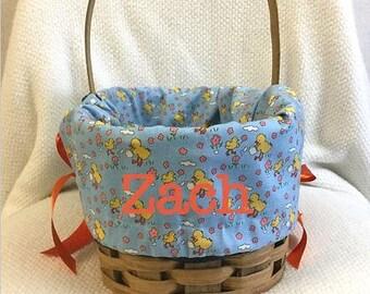 Seasonal Easter Basket Liner - Blue Ducks