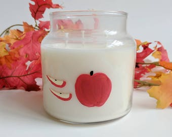 Honey Crisp Apple/16oz Soy wax/ refillable/ zero waste/ fall scent/ handpainted Candle/ Fall Candle