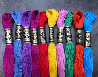DMC Pearl Cotton Floss #25, Brights Color Pack, Needlepoint Threads, Crewel, Embroidery, Perle Cotton, Sale .40 each