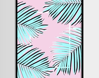 Palm print, Tropical Plant, Palm leaf, Pink, Blue, Minimal, Tropical art, Modern, Wall decor, Digital art, Printable, Instant Download 16x20