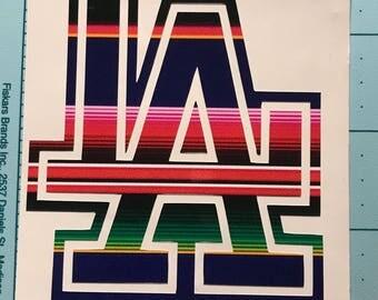 LA Dodgers Vinyl Decal Sarape/ Mexican Blanket print
