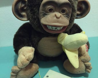 Just for Laughs Vintage Vibrating and Monkey Sounding Stuffed Monkey