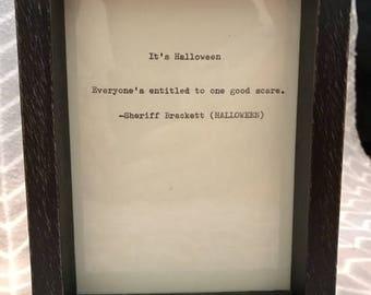 Vintage Halloween Quote Typed on Typewriter