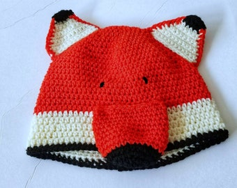 Fox Hat - Crochet Fox Hat - Animal Hat - Kids Winter Hat - Orange Fox Hat - Child Fox Hat - Fox Ear Hat - Knit Fox Hat - Fox Beanie -