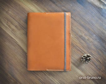 Leather notebook cover A5, Book leather organizer, Moleskine leather cover, leather oorganizer a5.