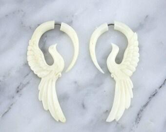 Swallow Bone Hangers / Fake Gauges Earrings