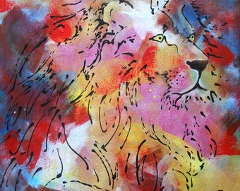 """Painting """" The Lion, king of the Jungle """""""