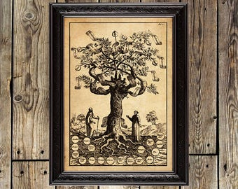 Tree of Knowledge, sacred tree, mystical tree, medieval art, medieval wall hanging, wise, medieval gift, alchemy, fine art print, poster,343