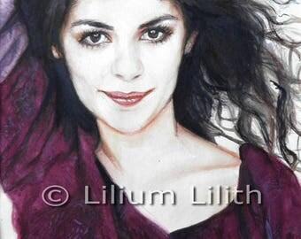 Original watercolor. Portrait of Audrey Tautou