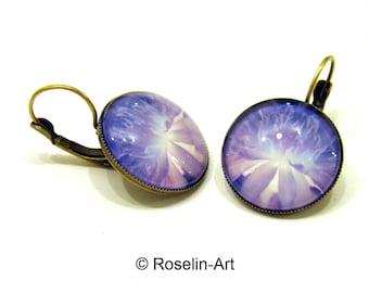 Earrings, Bronze, purple flower