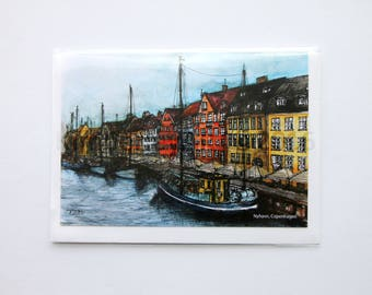 Nyhavn Copenhagen Greetings Card, Artwork Greetings Card, Watercolour Greetings Card, Birthday Card, Colourful Artwork Card, Blank Card