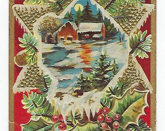 A Merry Christmas, Vintage Postcard, Christmas Greetings, Pine and Holly, Star, Cabin, Embossed Postcard, Ephemera