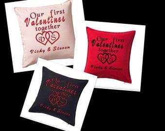 First Valentines day together cushion cover with insert