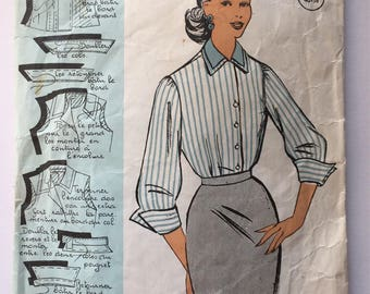 """Fabulous 50's french vintage sewing pattern :  Woman buttoned shirt with double collar - size 12 taille 40 """"Patron modele 68022"""""""