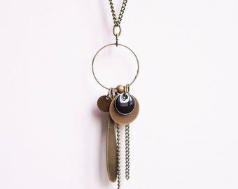 Necklace black enamel sequin
