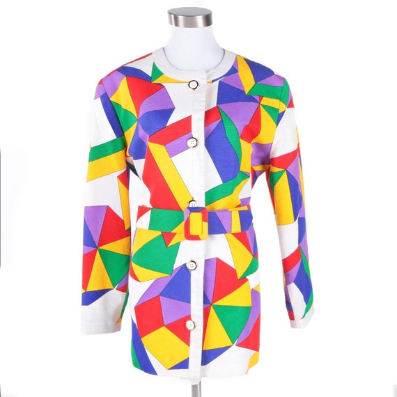 Vintage 1980s Yolanda pop art jacket with matching belt, approx. size 8-10.