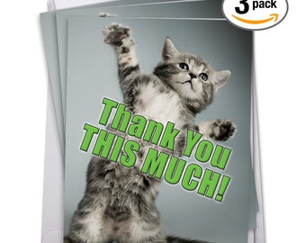 Jumbo This Much Kitten Thank You Card