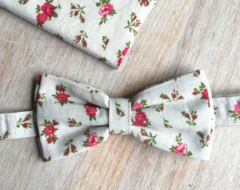 Bow tie + Pocket - floral White
