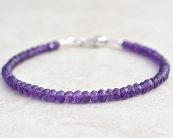Amethyst Bracelet, February Birthstone, Gemstone Bead Bracelet, Gift for Teen Wife Mom, Sterling Silver Heart Charm, Dainty Purple Bracelet