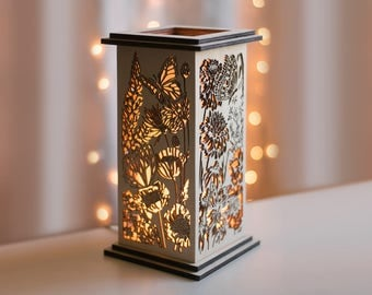 Butterfly and Wildflower Patterned Tabletop Lantern - Girl's Room Lamp - Nature Decor - Floral Design