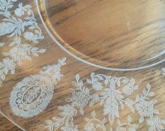 Etched Glass Salad Plates (2)