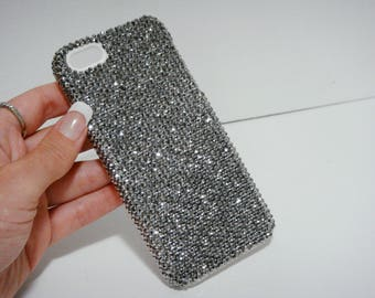 Silver Gray Color Crystallized Bling Swarovski Elements Crystals Handmade Plastic Case, Rhinestones Jewelled Gem iPhone 7/8 Plus Cover