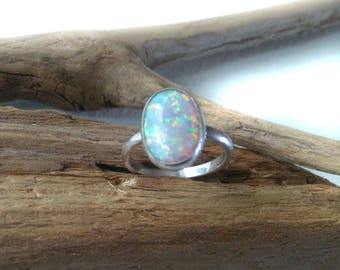 Sterling Silver Opal Ring, Opal Rings for Women, Opal Ring Sale, Faux Opal Ring, Synthetic Opal Ring
