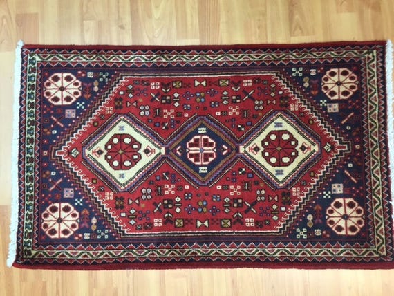 2' x 3' Persian Shiraz Oriental Rug - Hand Made - 100% Wool
