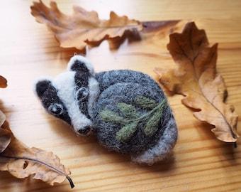 Needle felted badger brooch