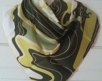 Groovy Green acetate twill scarf by La Dear, 1960's //  American maker, swirly design, 1960's, Peter Max style illustration