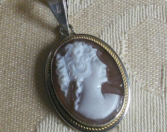 Small Sterling Cameo pendant // small sterling silver, finely carved shell pendant