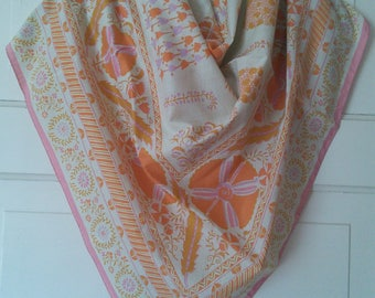 Geometric Botanical Cotton scarf or wrap by Five Corners, made in Thailand // large cotton scarf or wrap, pink and orange