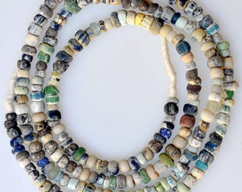 28 Inch Strand of 4mm Old Excavated Glass Beads - African Trade Beads